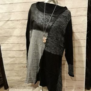 Long sleeve black Patchwork sweater